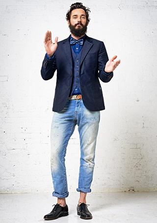 30代 テーラードジャケット×ジーンズの着こなし