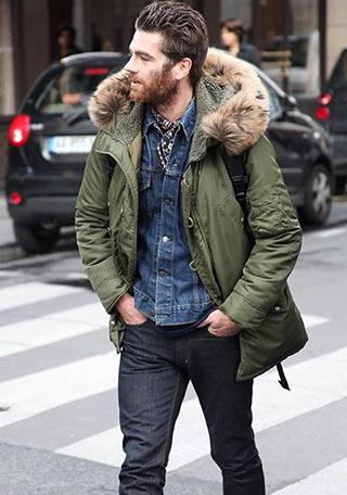 カーキモッズコート×デニムジャケットの無骨な着こなし【冬】