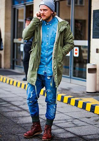 モッズコート 215 ダメージジーンズ 215 赤茶ワークブーツの着こなし【メンズ】 Italy Web