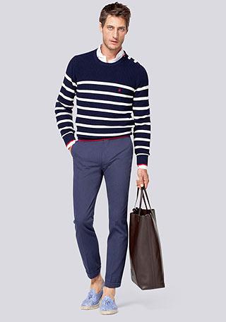 【30代男性】紺ボーダーニット×ディープブルーパンツの着こなし