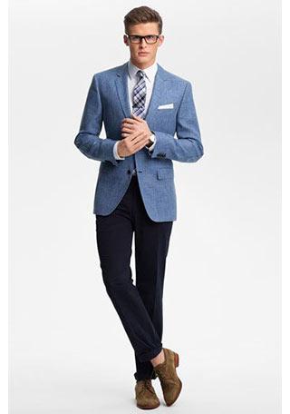 青ジャケット×ネイビーパンツ