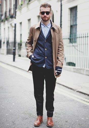ステンカラーコート×ジャケット