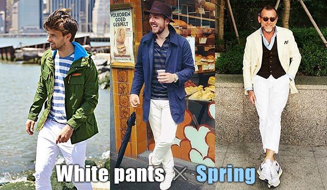 白パンツ春コーデ